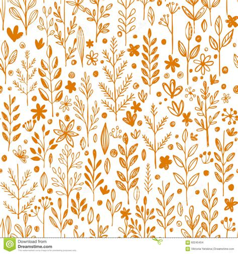 seamless pattern design illustrator seamless pattern doodling fall grass design stock vector