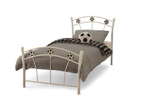 Small Single Metal Bed Frame Serene Soccer 2ft6 Small Single White Metal Bed Frame By Serene Furnishings