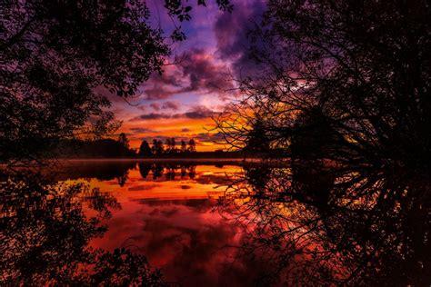 sunset autumn river trees wallpaper