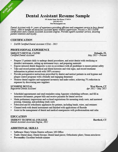 resume templates for dental assistant dental assistant resume sle tips resume genius