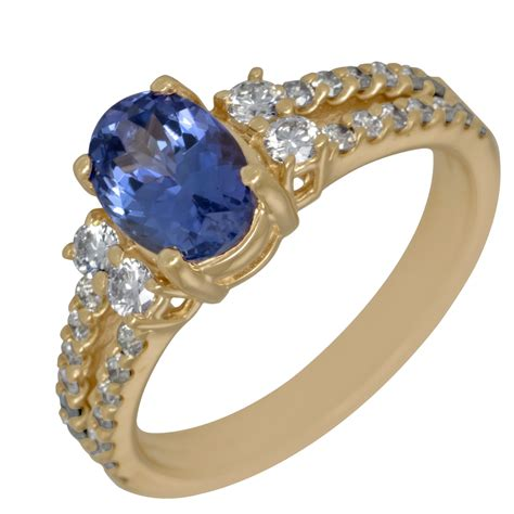 tanzanite and ring in 14kt yellow gold 5 8ct tw