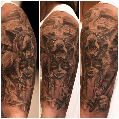 arm tattoo native arm sleeve tattoo girl in native face paint wearing a