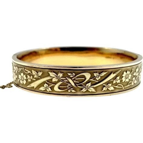 pattern gold bangle victorian gold filled floral pattern bangle bracelet sold