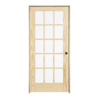 home depot prehung interior doors jeld wen woodgrain 15 lite unfinished pine single prehung interior door 920515 the home depot