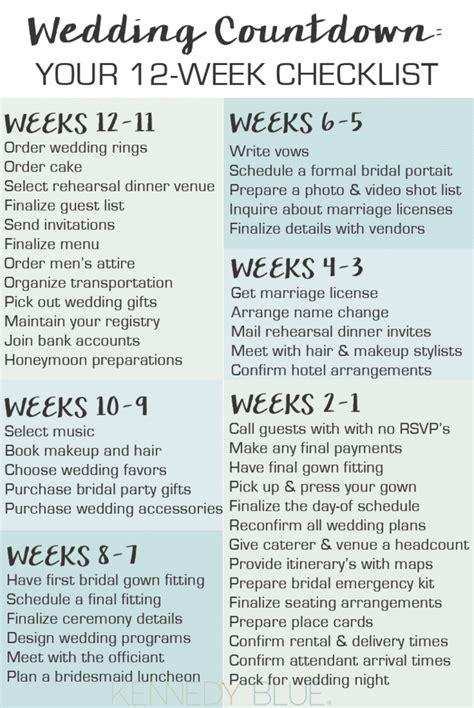 Wedding Checklist Last 2 Weeks by Wedding Countdown Your 12 Week Checklist