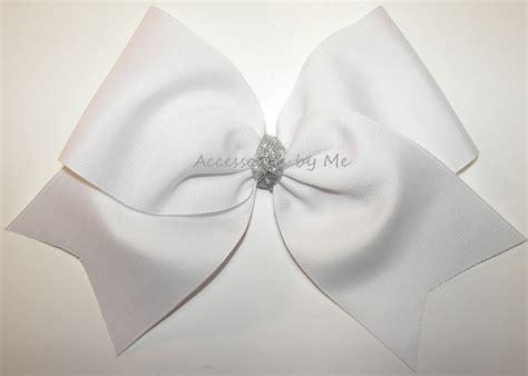 big bow hair bows big cheer bow white silver 5 00