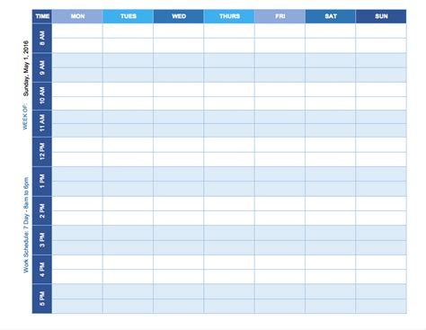 Schedule Template free weekly schedule templates for excel smartsheet