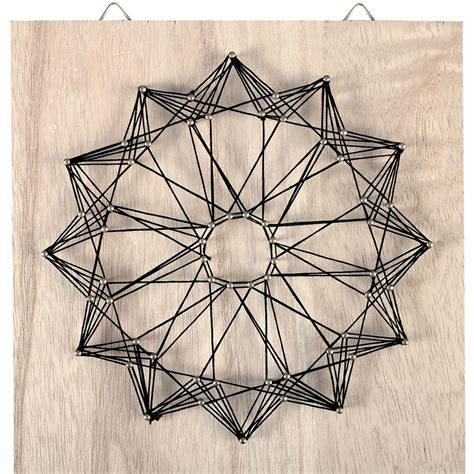 How To Interior Decorate Your Home String Art Kit Rosace Shape Square Rough Wood 22x22 Cm For