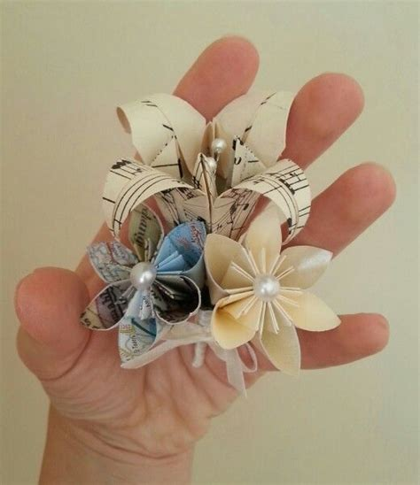 Origami Buttonhole Flower - paper flower origami wedding buttonholes boutonniere