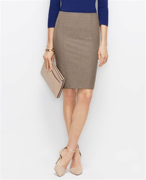all season stretch pencil skirt in brown