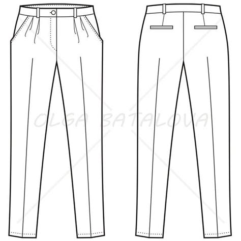 sle templates for autocad women s pleated pants fashion flat template illustrator
