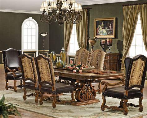 formal dining set italian leather  european fabric