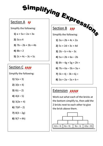 simplifying expressions differentiated worksheet by