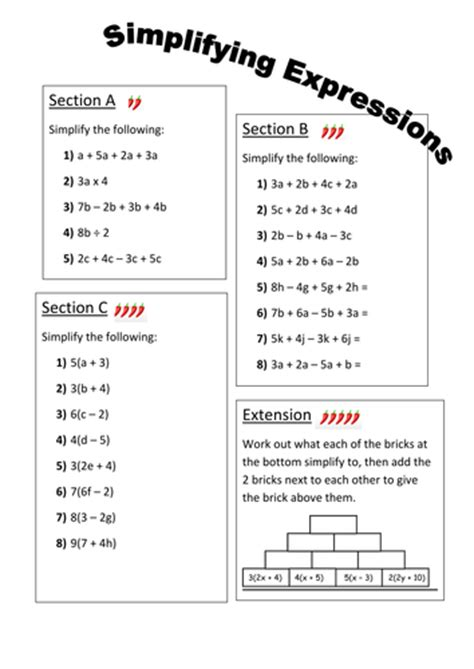 Simplifying Expressions Worksheet by Simplifying Expressions Differentiated Worksheet By