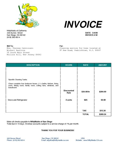 cleaning invoice template uk invoice exle
