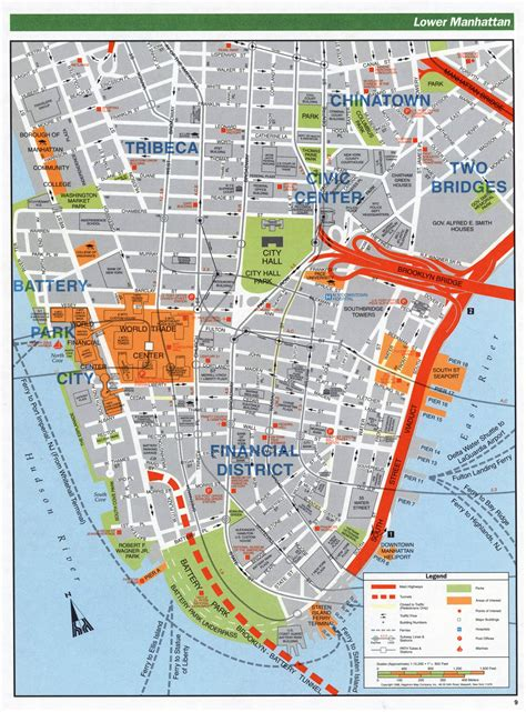manhattan new york map map large detailed road map of lower manhattan nyc vidiani