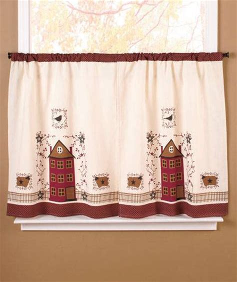 Primitive Country Kitchen Curtains 2 Pc Country Primitive Kitchen House Crows Sheep Window Curtain Tiers New Ebay