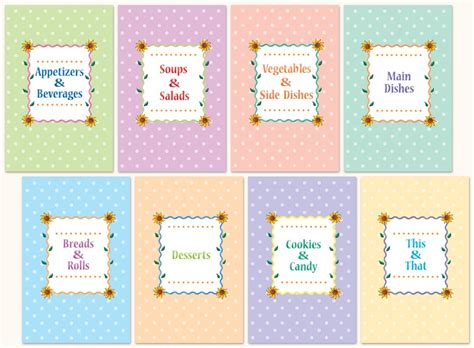 template for recipe card dividers 8 best images of free printable cookbook divider tabs