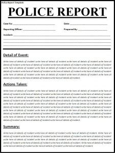 Police Report Template Free Formats Excel Word Arrest Report Template