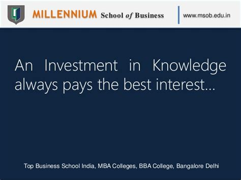 Bangalore Mba Notes by Millennium School Of Business Msob Top Business