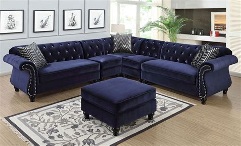 tufted velvet sectional faris crystal tufted blue velvet sectional