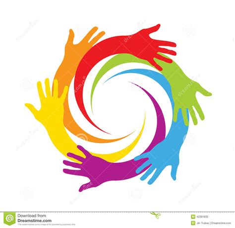 Colored Hands In A Circle Stock Vector Image Of Hand Six Color Print L