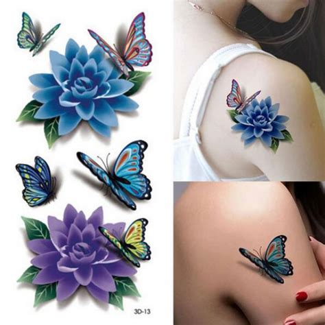 tattoo flower mural sexy 3d butterfly flower style temporary tattoo body art
