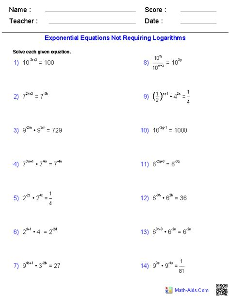 Solving Exponential Equations Without Logarithms Worksheet algebra 2 worksheets exponential and logarithmic