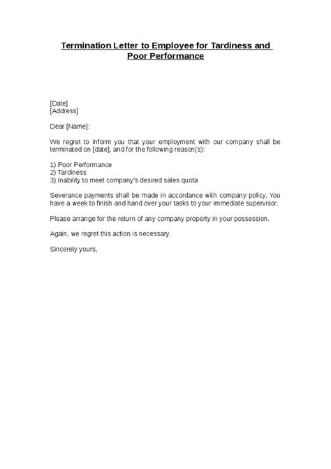 template letter of termination of employment termination letter
