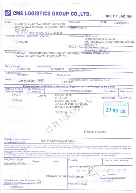 sle resume format word file sle of bill of lading document 28 images bill of