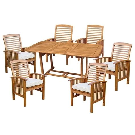 Edison Bistro Table Walker Edison 7 Wood Patio Dining Set In Brown With Cushions Ow7sbr