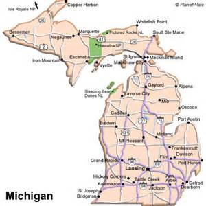 Michigan Us Map by Info Map Of Michigan Cities