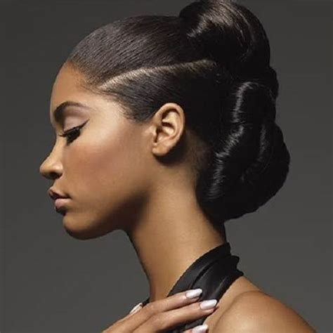1950 bun hairstyle for black women african american bun updo styles