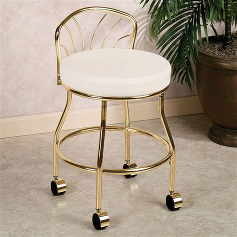 flare  metallic finish vanity chair  casters