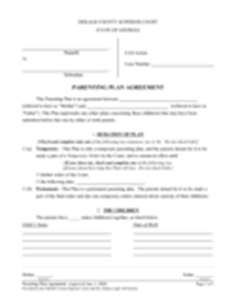 parenting plan form 57 free templates in pdf word