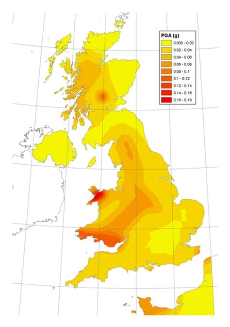 pga sections map british geological survey hazards and archives section