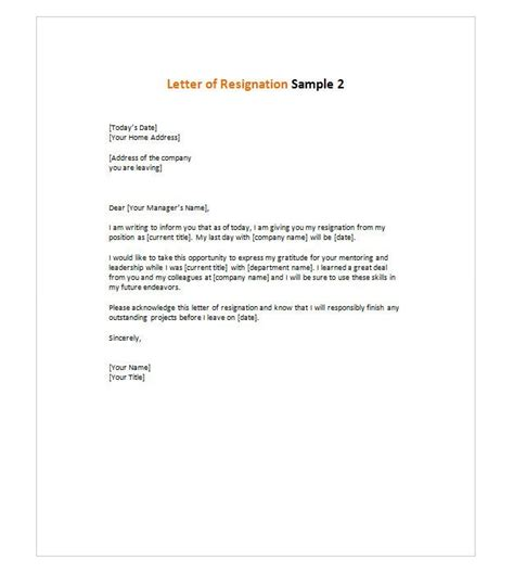 Resignation Briefprobe letter of resignation 2 all me