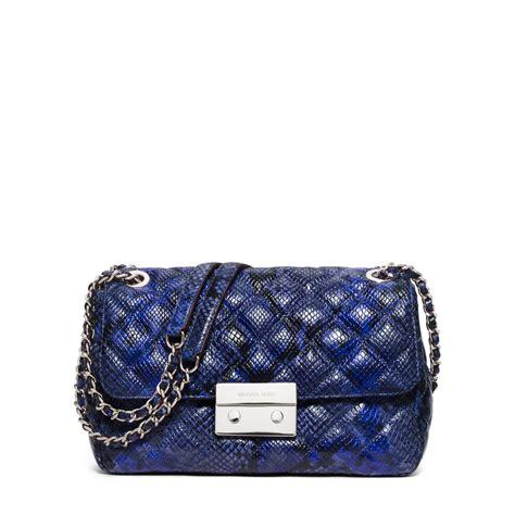 M Hael Kors Bag Blue by Lyst Michael Kors Sloan Large Embossed Leather Shoulder