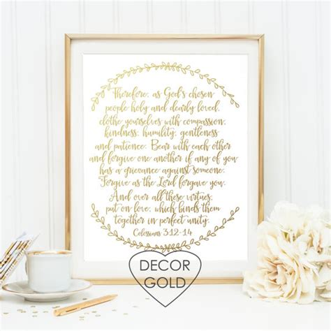 Bible Verses For Bridal Shower by Colossians 3 12 14 Wedding Bible Verse Scripture Gold Foil