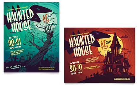 illustrator templates for posters haunted house poster template design