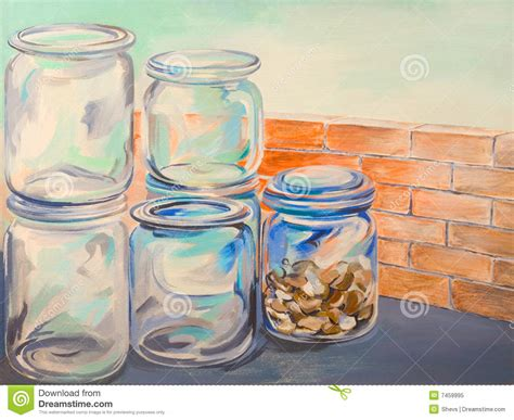 Painting Glass Jars by Glass Jars Painting Stock Illustration Image Of Glass