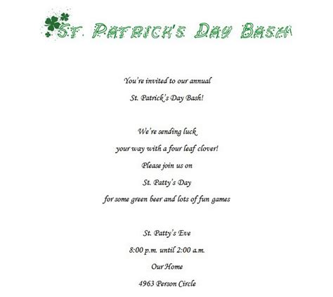 st s day invitation card templates free st s day free suggested wording by