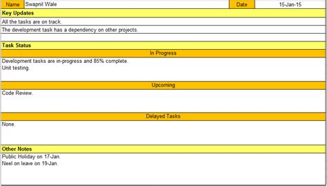 daily status report template doc 502659 sle project status report template