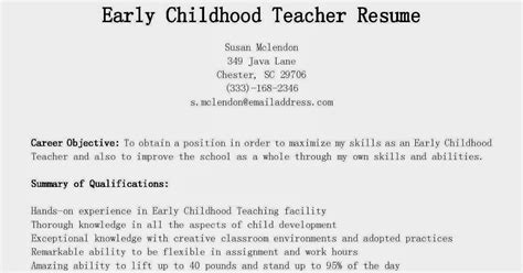 sles of resumes for early childhood teachers resume sles early childhood resume sle