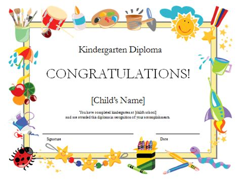 Kindergarten Diploma Template by Diploma Preschool Diploma Template