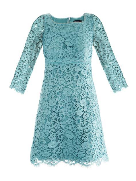 blue pattern lace dress lyst dolce gabbana lace mini dress in blue