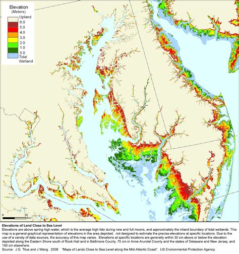 maryland map elevation adapting to global warming