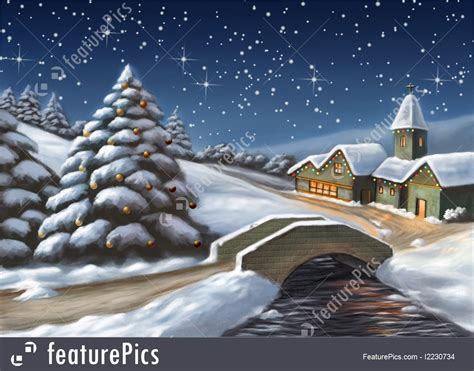 christmas landscape illustration
