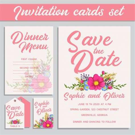 Pink Wedding Invitation Cards pink wedding invitation cards set vector free