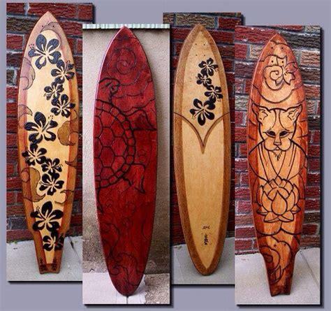 custom longboard wood burned   bucket list
